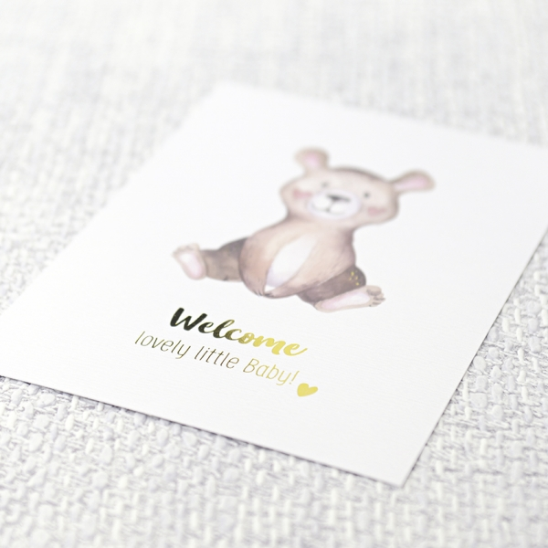 Postkarte Welcome Baby Bär
